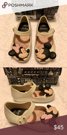 Mini Melissa Disney Mickey & Minnie Size 6 So adorable! Mini Melissa Disney Twins Mickey & Minnie Velcro Mary-Jane style shoes. Size 6. Off-white color. Great used condition. Come with original box. Comes from a smoke-free home. Open to reasonable offers through the offer button. Any questions, please ask! Happy Poshing! Mini Melissa Shoes Dress Shoes
