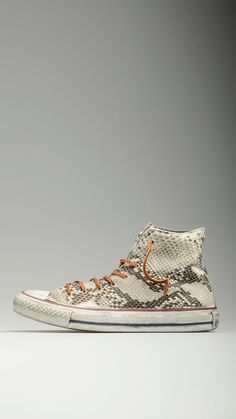 All star Ltd snake concrete lace-ups high top sneakers, vintage appearance, metallic eyelets, cotton laces supplied, metallic stars detail on the heel, 100% leather and canvas.