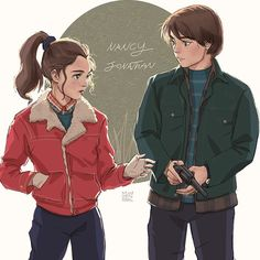 Stranger things: Nancy and Jonathan by Janenonself on DeviantArt Stranger Things Saison 1, Nancy Stranger Things, Stranger Things Jonathan, Stranger Things Quote, Stranger Things Aesthetic, Stranger Things Netflix, Stranger Danger, Cartoon Kunst, Don T Lie