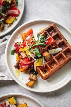 Savory Parmesan Waffles with Roasted Vegetables Parmesan Waffles with Balsamic Roasted Vegetables Roasted Mediterranean Vegetables, Roasted Vegetables, Brunch Recipes, Breakfast Recipes, Recipes Dinner, Dessert Recipes, Waffle Iron Recipes, Savory Waffles, Yummy Food