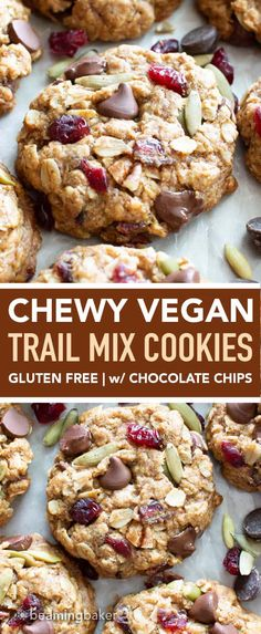 Recipes Snacks On The Go Jan 2020 - Easy Vegan Trail Mix Cookies Recipe (V, GF): learn how to make chewy vegan trail mix cookies packed with healthy fruits, nuts & seeds! The perfect homemade snack to bring with you on-the-go. Healthy Work Snacks, Healthy Fruits, Easy Snacks, Easy Meals, Healthy Snacks For Kids On The Go, Healthy Cookies For Kids, Easy Homemade Cookies, Healthy Chocolate Snacks, Healthy Homemade Snacks