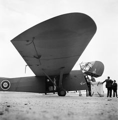 Waco Hadrian Mark I,Voo Doo, glider at Dorval, Quebec, before being towed across Atlantic by a Douglas Dakota of RAF