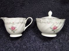 Fine China of Japan Royal Swirl Creamer Sugar Bowl with Lid - EXCELLENT! #FineChinaofJapan