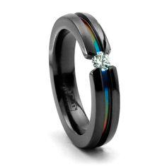 RAINBOW BLACK TI DIAMOND RING  4MM FLAT PROFILE