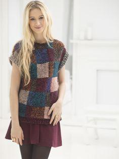 Free Knitting Pattern L40572 Colorblock Slipover : Lion Brand Yarn Company