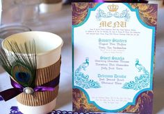 Love how they glammed up the coffee cup with a feather & ribbon! Not to mention the gorgeous menu card.
