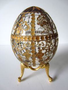 Beautiful Vintage Clear Crystal cut Gilded signed Faberge Egg. via Etsy.