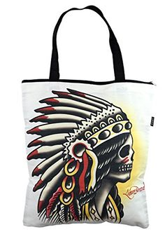 Liquorbrand Traditional American Tattoo Chieftain Large Tote Bag $19.95