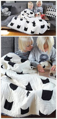 @Leah Goren, Solid Black Cats on White  Quilt, tutorial