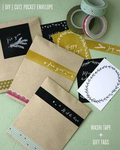 Pocket envelope DIY with washi tape