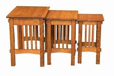 Amish Deluxe Mission Nesting End Table Set Set of three solid wood nesting tables that tuck away neatly. Set up an instant spot to host with these convenient small tables.