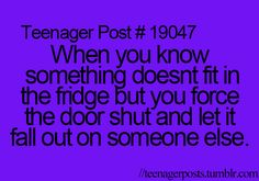 Hahaha lol I'm guilty. It gets so aggravating when the fridge is stuffed full of who-knows-what an u can't find a place for a item.
