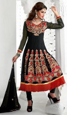$53.07 Black A Line Embroidered Faux Georgette Anarkali Salwar Suit 26198