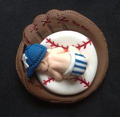 Fondant baseball baby boy 3D Yankees team cake topper baby