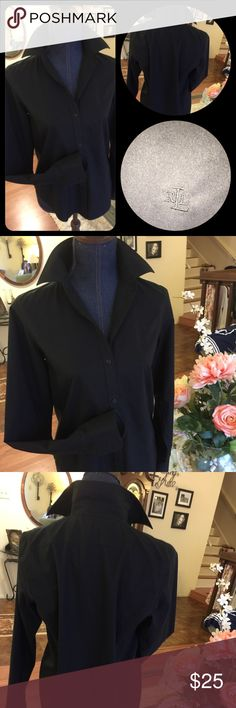 Beautiful Ralph Lauren black blouse So crisp and beautiful Ralph Lauren blouse !!! Ready for a pair of white shorts and rolled up sleeves and look classy Ralph Lauren Tops Blouses