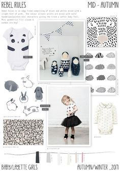 Rebel Rules is an edgy baby girls layette theme. Contesting of a black and white colour palette mixed with softer tones of cream, warm a. Toddler Fashion, Kids Fashion, Color 2017, Fashion Moda, Fashion Trends, Baby Layette, Girl Trends, Fashion Forecasting, Winter Kids