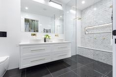 The Foolproof Hamptons Style Bathrooms Strategy Bathroom Toilets, Bathroom Renos, Laundry In Bathroom, Simple Bathroom, Bathroom Renovations, Modern Bathroom, Bathroom Cabinets, Master Bathroom, Bathroom Feature Wall