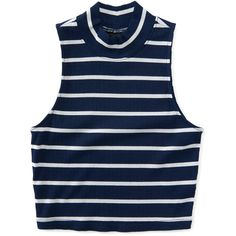 Aeropostale Striped Mock-Neck Bodycon Crop Top ($14) ❤ liked on Polyvore featuring tops, crop top, navy dream, collared crop top, layered tops, striped crop top and slimming tops