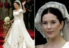 Mary, Crown Princess of Denmark looked so beautiful and stylish in the dress designed by Danish designer Uffe Frank on her most important day married to Frederik, Crown Prince of Denmark in May 2004.