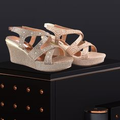 A sparkling pair of golden shoes is a staple in every girl's wardrobe. Be it a wedding or cocktail party, these shimmering sandals will glamorize your every look. Golden Shoes, Girls Wardrobe, Gold Rush, Every Girl, Cocktail, Sparkle, Wedges, Pairs, Sandals