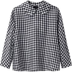 CdG CdG Gingham Top ($267) ❤ liked on Polyvore featuring tops, blouses, shirts, long sleeved, shirt blouse, long sleeve peter pan collar shirt, black white gingham shirt, gingham shirt and oversized blouse