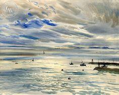Rex Brandt - The Newport Jetty - California art - fine art print for sale, giclee watercolor print - Californiawatercolor.com