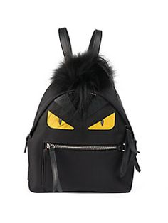 Fendi Monster Nylon, Leather & Mini Fur Backpack In Black Yellow Monster Backpack, Fendi Backpack, Backpack Bags, Fashion Handbags, Fashion Bags, Women's Fashion, Yellow Backpack, Faux Leather Backpack, Leather Backpacks
