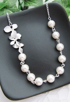 Orchid Trio charm with Swarovski Pearls Bridal Necklace Bridesmaid Necklace Bridal Jewelry from EarringsNation