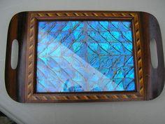 Antique Art Déco Brazilian Blue Butterfly Serving Tray Original Marquetry | eBay