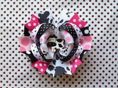 SALE Ready To Ship Hairbow Adorable Cow by LilCutieBugBoutique, $7.99