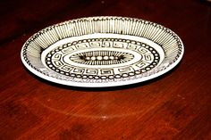 Black and White Hand Drawn Butter Dish with Pattern. $16.00, via Etsy.