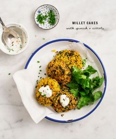 Millet Cakes with Carrots & Spinach via Love & Lemons
