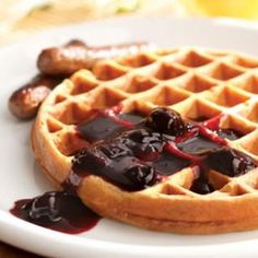 Whole-Grain Waffles with Cherry Sauce Recipe