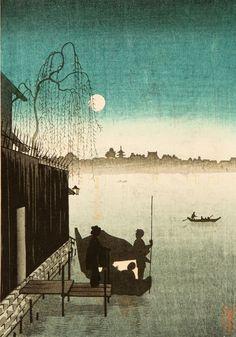 Kobayashi Eijiro, Evening Cool on Sumida, 1910-30.