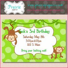 Kids Birthday Invitation / Monkey Party Invite / by prairiepaperco, $12.00