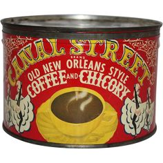 Vintage Canal Street Coffee & Chicory Tin from thecuriousamerican on Ruby Lane Bunn Coffee, Coffee Tin, Fresh Coffee, Hot Coffee, Coffee Shop, Coffee Cups, Street Coffee, Coffee Packaging, Vintage Packaging