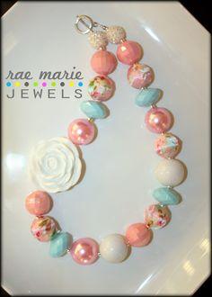 DUSTY ROSETTE Chunky Beaded Necklace  Bubblegum by RaeMarieJewels, $23.00