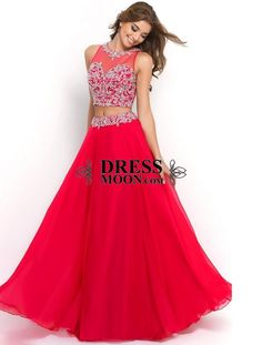 Chiffon and Tulle With Beading Floor Length Two Piece Red Prom Dress - PROM#.VftN7Wcg-Uk#.VftN7Wcg-Uk