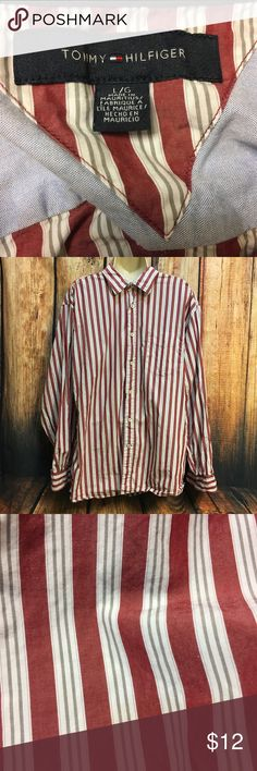 Tommy Hilfiger Men's Dress Shirt - Large - Red Size: Large Color: Red Striped  Long Sleeve Front left chest pocket Preowned in great condition Tommy Hilfiger Shirts Dress Shirts