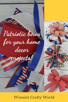 These beautiful bows would be perfect additions to your 4th of July of Memorial Day celebrations! Use it to decorate your buffet table or add it to a wreath to welcome your guests! #4thOfJulyDecor #RedWhiteAndBlue #MemorialDayDecor #PatrioticDecor #PatrioticBows #WinniesCraftyWorld Patriotic Wreath, Patriotic Decorations, Memorial Day Celebrations, Indoor Wreath, Making Bows, Artificial Silk Flowers, Summer Wreath, How To Make Bows, Deco Mesh