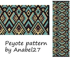 Peyote pattern beadwork wide peyote cuff ethnic by Anabel27shop, $5.00