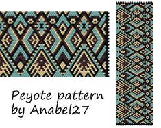 Peyote pattern - beadwork - wide peyote cuff - ethnic style - bead pattern