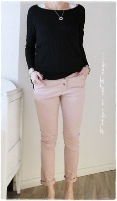 Black top, and blush jeans/skirt