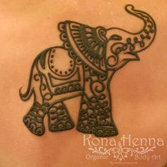 Organic Henna Products.  Professional Henna Studio. KonaHenna.com. I want a different design inside the elephant but I like the trunk placement for my tattoo.
