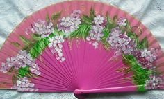Painted wooden fan