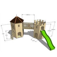 Tower and Turret Wooden Playhouse Combination - view 2