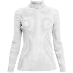 Rumour London - MIA Cream Ribbed Turtleneck Sweater (2,925 MXN) ❤ liked on Polyvore featuring tops, sweaters, white sweater, white turtleneck top, cream turtleneck, polo neck sweater and turtle neck sweater