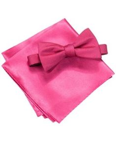 Alfani Men's Foster Solid Bow Tie & Pocket Square Set, Only at Macy's - Pink