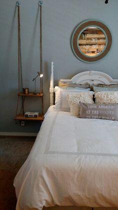 Rehabbed headboard and custom built nightstand