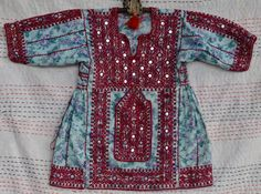 Vintage Balochi dress girls tribal tunic top ethnic embroidery gypsy blouse Pakistani Afghani collectable floral boho Blochi Blochistan